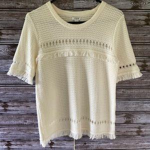J Crew Fringe Short-Sleeved Sweater Size S